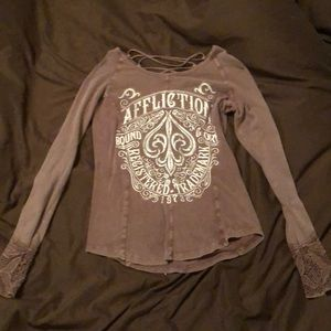 Affliction long sleeve tee shirt size large